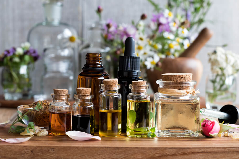 Seven bottles of essential oils for seasonal allergy relief